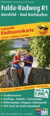 PublicPress Radwanderkarte Fulda-Radweg R1, Gersfeld - Bad Karlshafen
